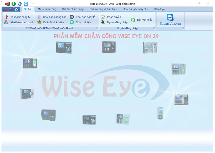 diao diện phần mềm chấm công wiseeye