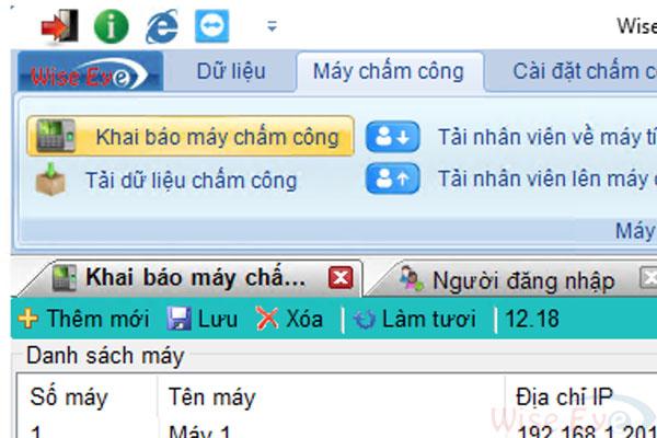 khai bao may cham cong tren wise eye on 39